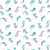 Lewis & Irene - Small Things Mythical & Magical - 5914 - Mermaids on White - SM7.1 - Cotton Fabric